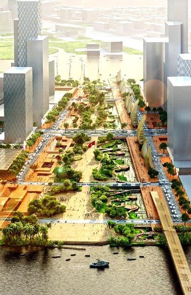 Phối cảnh quảng trường trung tâm ở Thủ Thiêm rộng hơn 20 ha. Đây sẽ là quảng trường lớn nhất Việt Nam trong tương lai.