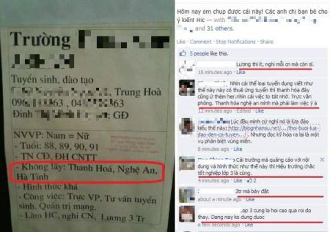 Một bảng thông báo tuyển người tuy ngắn gọn nhưng cũng đã tạo ra rất nhiều tranh cãi khi họ không tiếp nhận những người ở Thanh Hóa, Nghệ An, Hà Tĩnh.
