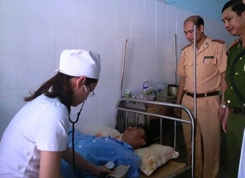 Thiếu tá Ngô Hồng Hải đang được điều trị tại Bệnh xá Công an tỉnh Thanh Hóa