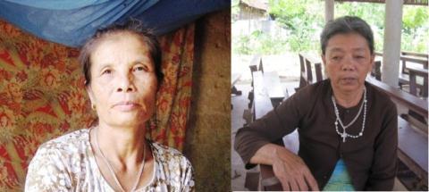 Bà Trần Thị Hồng và bà Nguyễn Thị Lý giải thích về nguyên nhân cái chết của chồng