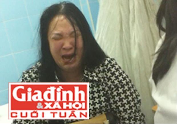 Bà Ngọc gào khóc tại Bệnh viện Bình dân chiều 5/5. Ảnh TG