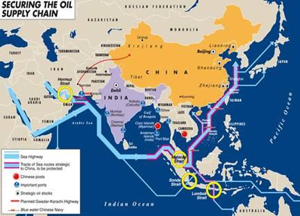 Hãy xem tuyến hàng hải của các tàu thương mại, vận chuyển năng lượng mà Trung Quốc cần phải bảo vệ an toàn (có viền đỏ bao quanh).