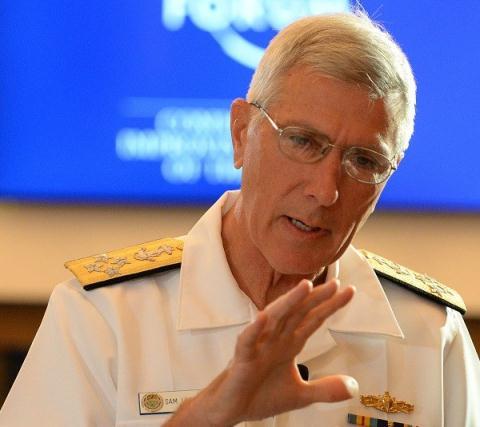 Đô đốc Mỹ Samuel Locklear phát biểu tại Diễn đàn Kinh tế thế giới khu vực Đông Á