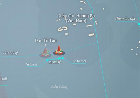 Ngày 27/5, Trung Quốc đã dời vị trí giàn khoan cách chỗ cũ 23 hải lý theo hướng đông đông bắc.
