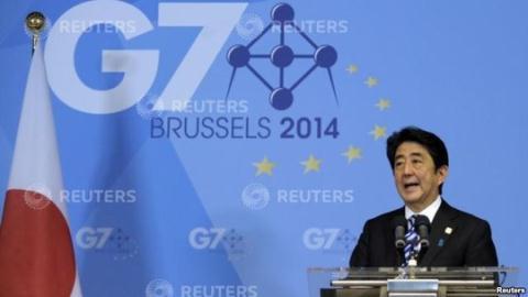 Thủ tướng Nhật Abe tại họp báo ngày 5/6. Ảnh: Reuters