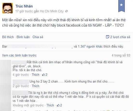 Trúc Nhân: 'Ai ăn thịt chó hãy block facebook tôi!'