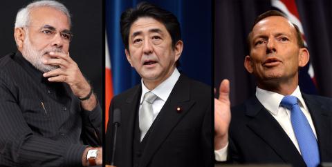 Từ trái qua phải: Thủ tướng Ấn Độ Narendra Modi, Thủ tướng Nhật Bản Shinzo Abe, Thủ tướng Úc Tony Abbott