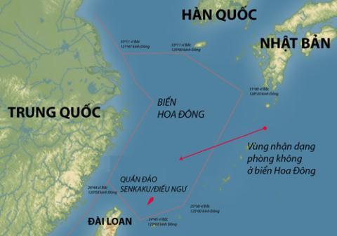 Vùng nhận dạng phòng không của Trung Quốc trên biển Hoa Đông