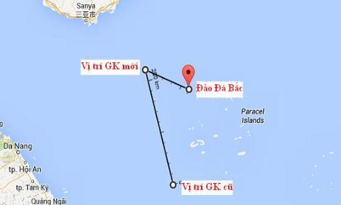 Vị trí tác nghiệp cũ và mới của giàn khoan Hải Dương 981, cùng vị trí so sánh với đảo Đá Bắc - Hoàng Sa