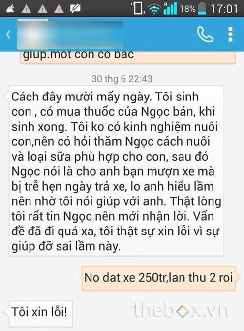 Tin nhắn giữa chồng Dương Yến Ngọc và bạn