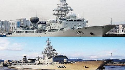 """Tàu trinh sát điện tử số hiệu 851 """"Bắc Cực Tinh"""" trước và sau khi nâng cấp"""