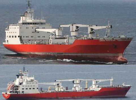 Tiền thân của tàu vận tải đông lạnh Hải Nam Bảo Sa 011 (trên) và Hải Nam Bảo Sa 012 là LOUIS PASTEURE và PIERRE DOUX