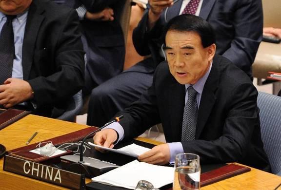 Đại diện thường trực của Trung Quốc phát biểu trong một phiên họp của HĐBA về Syria hồi tháng 7/2012. Sau đó, Trung Quốc và Nga đã phủ quyết dự thảo nghị quyết do phương Tây đệ trình.