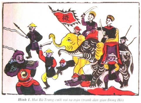 Hai Bà Trưng cưỡi voi ra trận- tranh dân gian Đông Hồ.