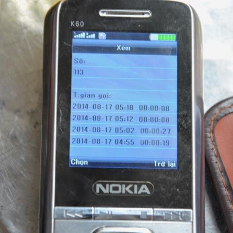 Số lần nạn nhân gọi cho số 113 còn lưu lại trên điện thoại