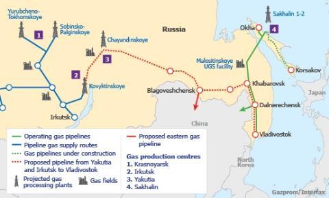 """Sơ đồ tuyến đường ống """"Sức mạnh Siberia"""" chạy từ Nga sang Trung Quốc"""