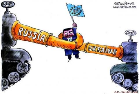 Cuộc đấu Nga-Mỹ và EU ở Ukraine (Ảnh biếm họa cuộc chiến khí đốt năm 2009)