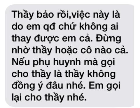 Đoạn tin nhắn trước đó được cho là của thầy Lợi gửi cho nữ sinh.