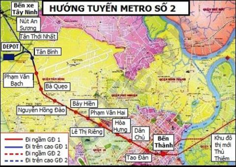 Sơ đồ tuyến metro số 2  tại TP HCM. Ảnh: BQL Đường sắt đô thị TP HCM.