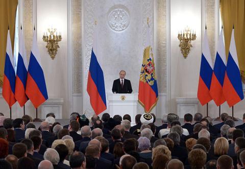 Tổng thống Putin diễn thuyết trước Quốc hội nước này về việc chấm dứt thế giới đơn cực