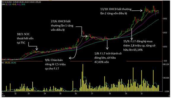 Biến động giá cổ phiếu TSC (Nguồn: Gafin)