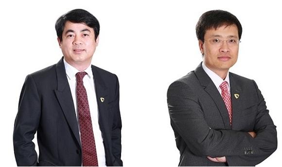 Tân Chủ tịch VCB Nghiêm Xuân Thành (trái) và Tân Tổng giám đốc VCB Phạm Quang Dũng (phải).