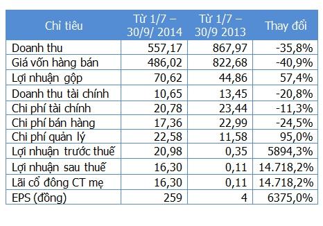Một số chỉ tiêu kinh doanh (Nguồn: Gafin/BHS). Đpn vị: Tỷ đồng