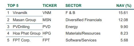 Các mã vốn hóa lớn trong danh mục đầu tư của Dragon Capital Các mã vốn hóa lớn trong danh mục đầu tư của Dragon Capital