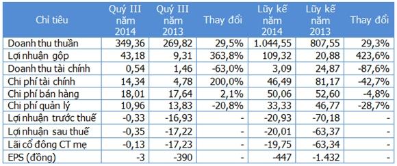 Một số chỉ tiêu kinh doanh (Nguồn: Gafin/HLG). Đơn vị: Tỷ đồng