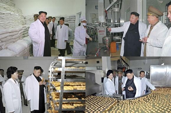 Tại nhà máy, nhà lãnh đạo Triều Tiên đã đi kiểm tra các loại thực phẩm, quy trình chế biến ngô, xát gạo.