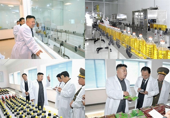 Công nhân làm việc trên dây chuyền đóng chai và ghi nhãn dầu đậu nành tại Nhà máy Thực phẩm Thiết yếu Bình Nhưỡng.