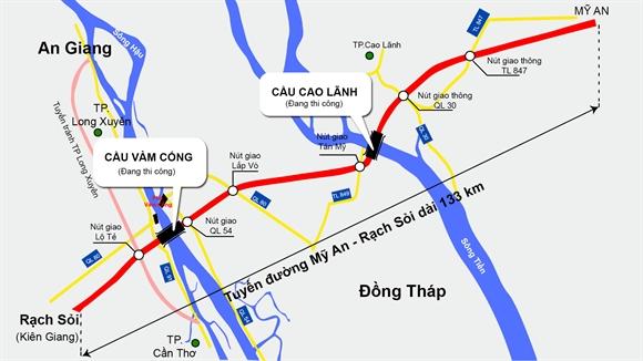 Sơ đồ tuyến đường Mỹ An - Rạch Sỏi tương lai sẽ là đường cao tốc    Nguồn: Tổng công ty Đầu tư phát triển và quản lý hạ tầng giao thông Cửu Long - Đồ họa: V.Cường
