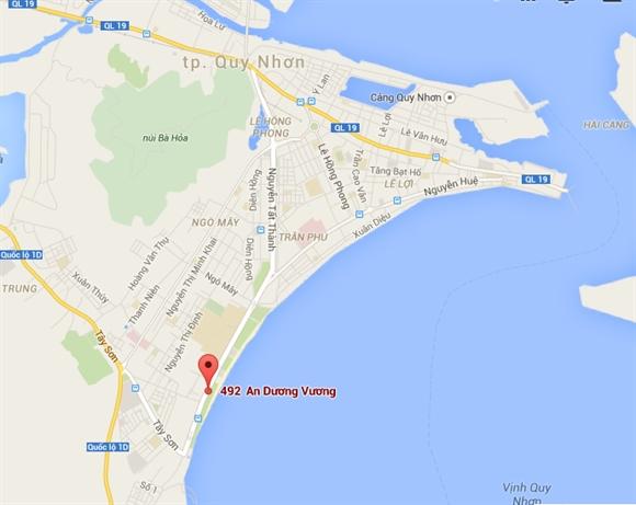 Vị trí khu đất 492 An Dương Vương, thành phố Quy Nhơn.