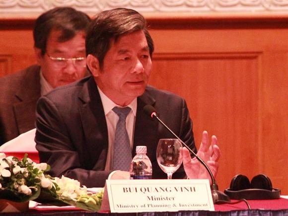 Bộ trưởng Bộ Kế hoạch và đầu tư Bùi Quang Vinh tại VBF 2014 (Nguồn: Gafin/DVH)