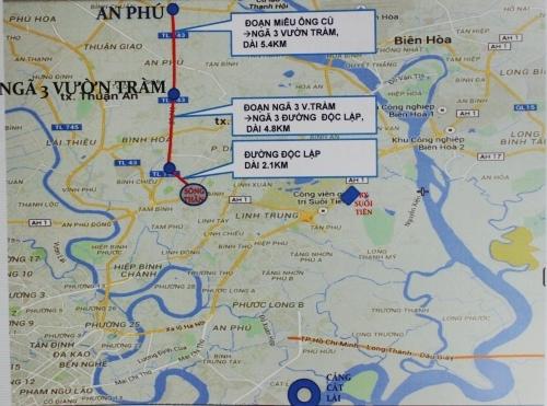 Sơ đồ mở rộng ĐT743 hướng tuyến từ miếu ông Cù đến cầu vượt Sóng Thần