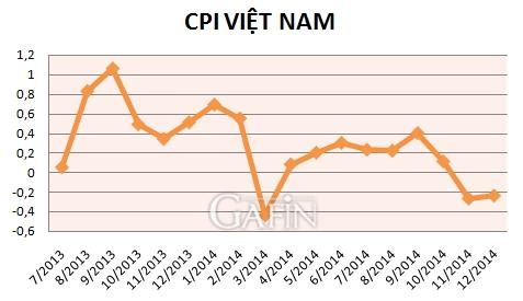 Diễn biến chỉ số giá tiêu dùng Việt Nam (so với tháng liền kề) Nguồn: GSO/Gafin