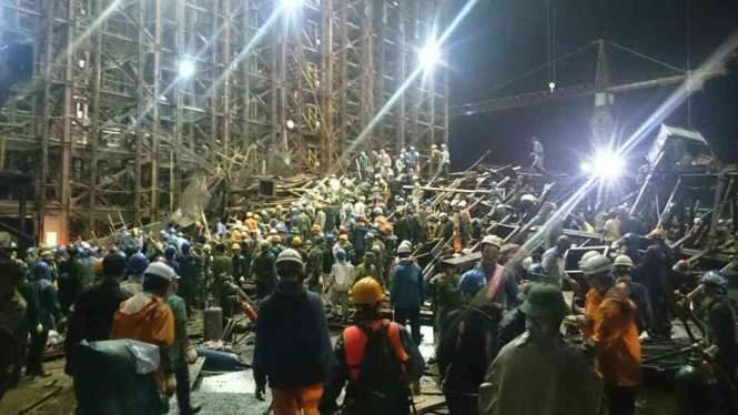 Theo một số công nhân có mặt tại hiện trường, sự việc xảy ra vào khoảng 20h ngày 25/3, trong khuôn viên công trường Formosa (Kỳ Anh, Hà Tĩnh). (Ảnh TTO)