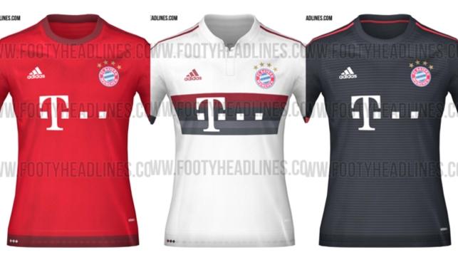 Bayern Munich sẽ trở lại với màu áo truyền thống với tông màu đỏ chủ đạo tượng trưng cho xứ Bavaria và bỏ đi các sọc màu xanh như mùa giải trước. Hai áo đấu sân khách được thiết kế với màu trắng kèm sọc to làm nổi bật logo nhà tài trợ và màu đen với sọc đỏ chạy trên vai