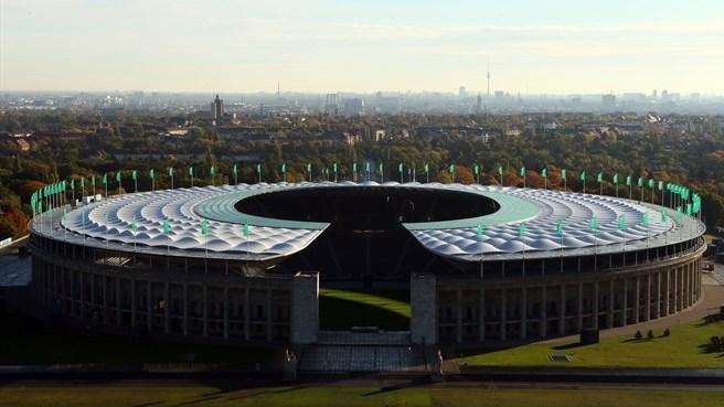 Toàn cảnh sân Olympic nhìn từ trên cao. Ngày 6.6 tới, Barcelona và Juventus sẽ cùng tụ hội tại đây để tranh cúp vô địch Champions League.
