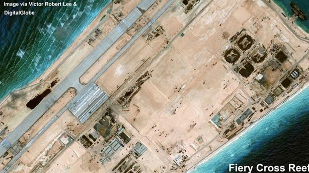 Trung Quốc xây xong đường băng trái phép trên Đá Chữ Thập