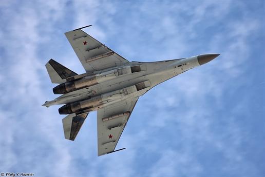 Chiến đấu cơ đa năng - siêu cơ động thế hệ 4++ Su-35S vừa có màn thể hiện sức mạnh chiến đấu trong một cuộc tập trận gần đây của Không quân Nga.