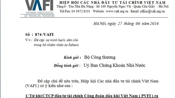 VAFI lại đề nghị minh bạch trong bổ nhiệm nhân sự Sabeco
