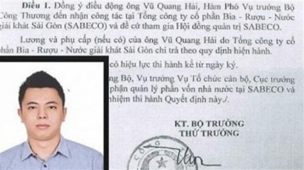 Bổ nhiệm Vũ Quang Hải: Bộ Công thương nói 'có sai sót'