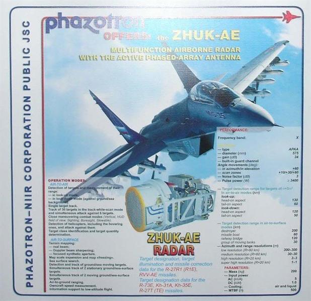 Ông Yuri Guskov quan chức cấp cao của Phazotron, công ty phát triển radar quân sự lớn nhất Nga cho biết, Moskva đang tiến hành hoàn thiện hệ thống radar quét mảng pha điện tử chủ động cho máy bay tàng hình thế hệ thứ 5 PAK FA, hay còn được biết đến với cái tên T-50, nhưng ở tốc độ nhanh hơn nhiều so với Trung Quốc.