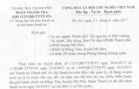 Ha Noi ket thuc thanh tra toan dien dat o Dong Tam