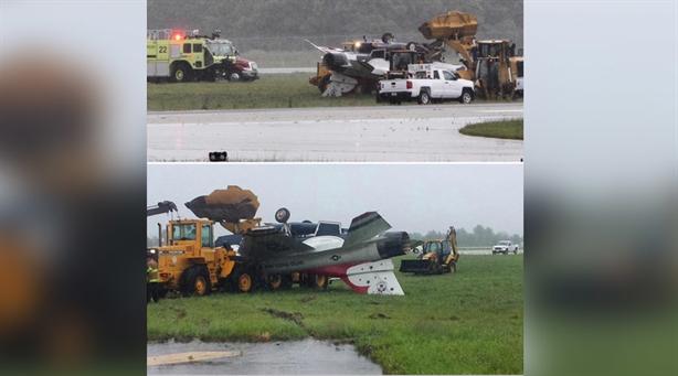 Khi thực hiện hoàn thành bài bay và chuẩn bị tiếp đất thì bất ngờ gió xuất hiện khiến chiếc F-16 chao đảo và lao đi trên đường băng trước sự bất lực của viên phi công. Và kết cục là chiếc F-16 bị lật ngửa sau khi bị trượt ra khỏi đường băng.