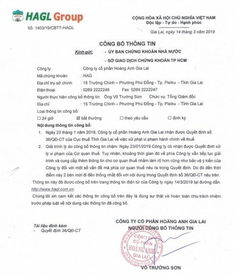 Hoang Anh Gia Lai bi phat, truy thu thue gan 11 ty