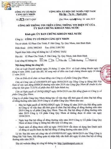 Cang Quy Nhon hoan hop co dong theo de nghi cua Vinalines