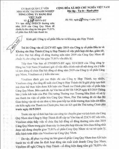 De nghi chuyen giao co phan Cang Quy Nhon trong thang 4/2019