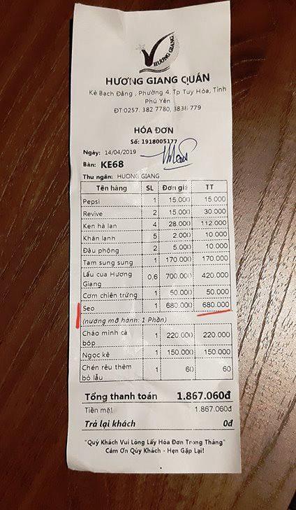 Dĩa sò diẹp 680.000 dòng: Nhà hàng noi loai dac biet